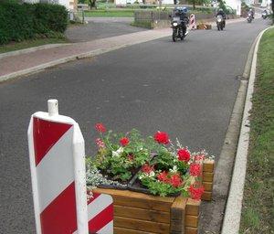 Blumenkübel sind bepflanzt