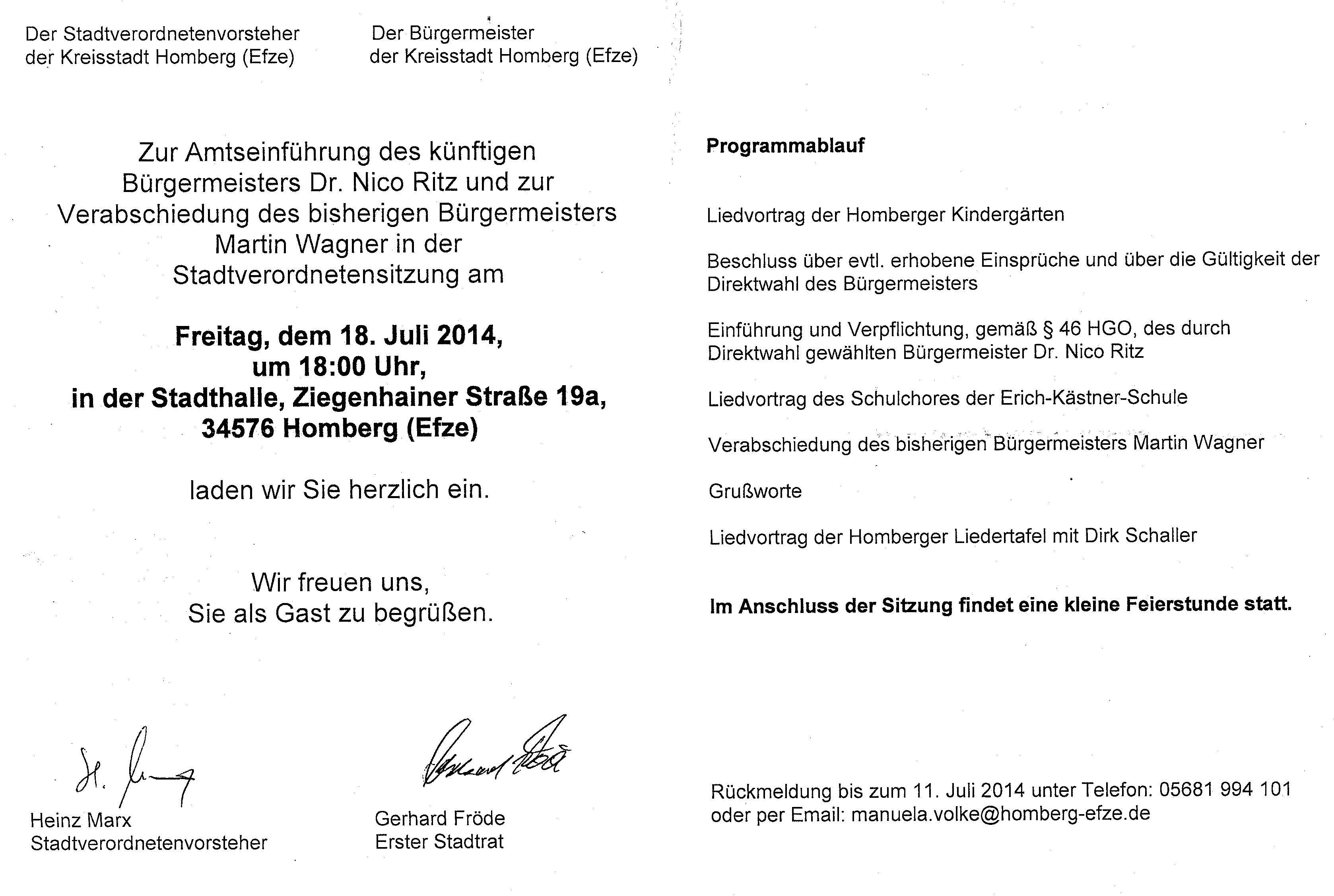 homberger hingucker » blog archiv » einführung des neuen, Einladung