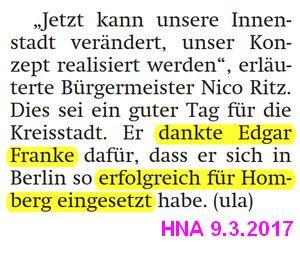 Ritz dankt Franke für seinen Einsatz in Berlin